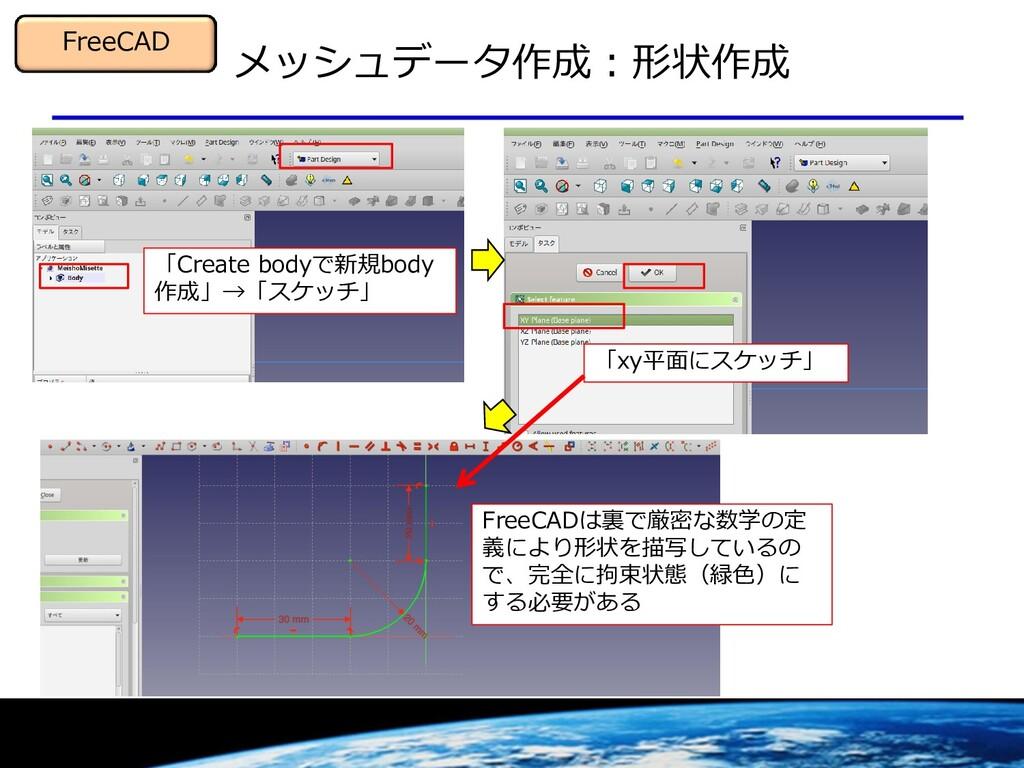 メッシュデータ作成:形状作成 FreeCAD 「Create bodyで新規body 作成」→...