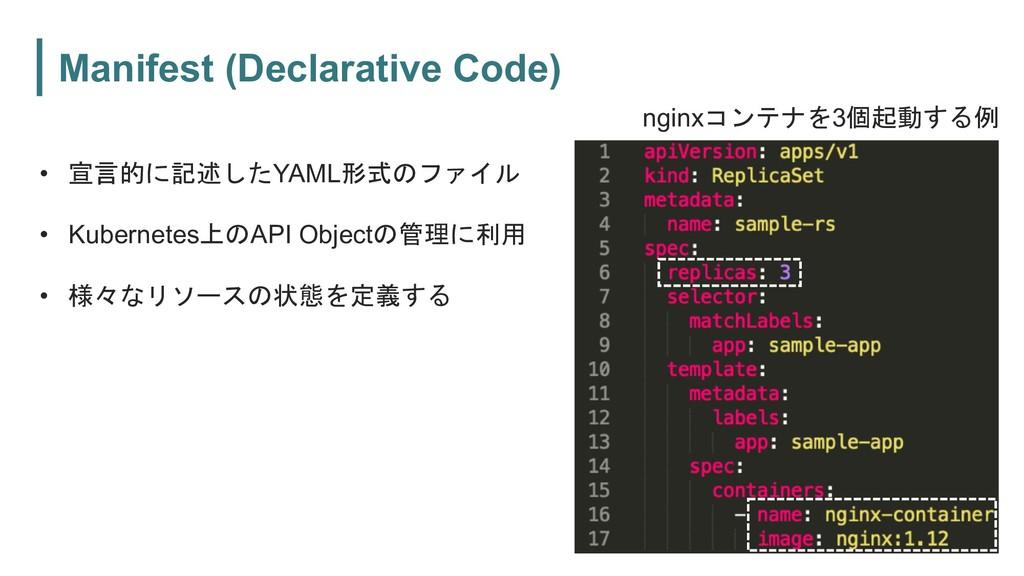 Manifest (Declarative Code) • '$(*YAML ...