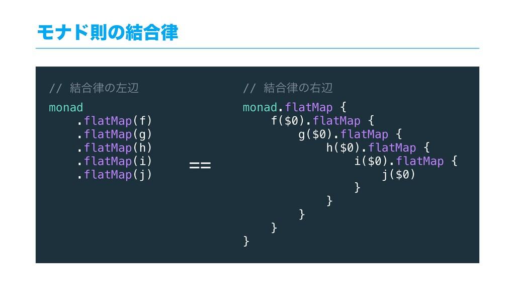 Ϟφυଇͷ݁߹ // ݁߹ͷࠨล monad .flatMap(f) .flatMap(g...