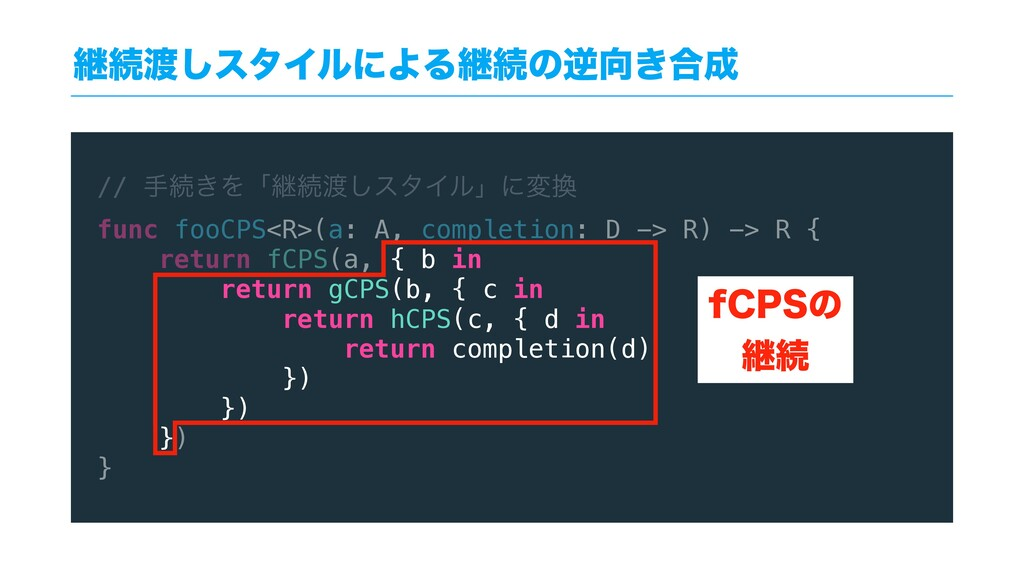 // खଓ͖Λʮܧଓ͠ελΠϧʯʹม func fooCPS<R>(a: A, compl...