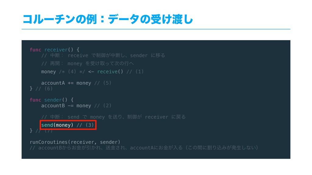 func receiver() { // தஅɿ receive Ͱ੍ޚ͕தஅ͠ɺsender...