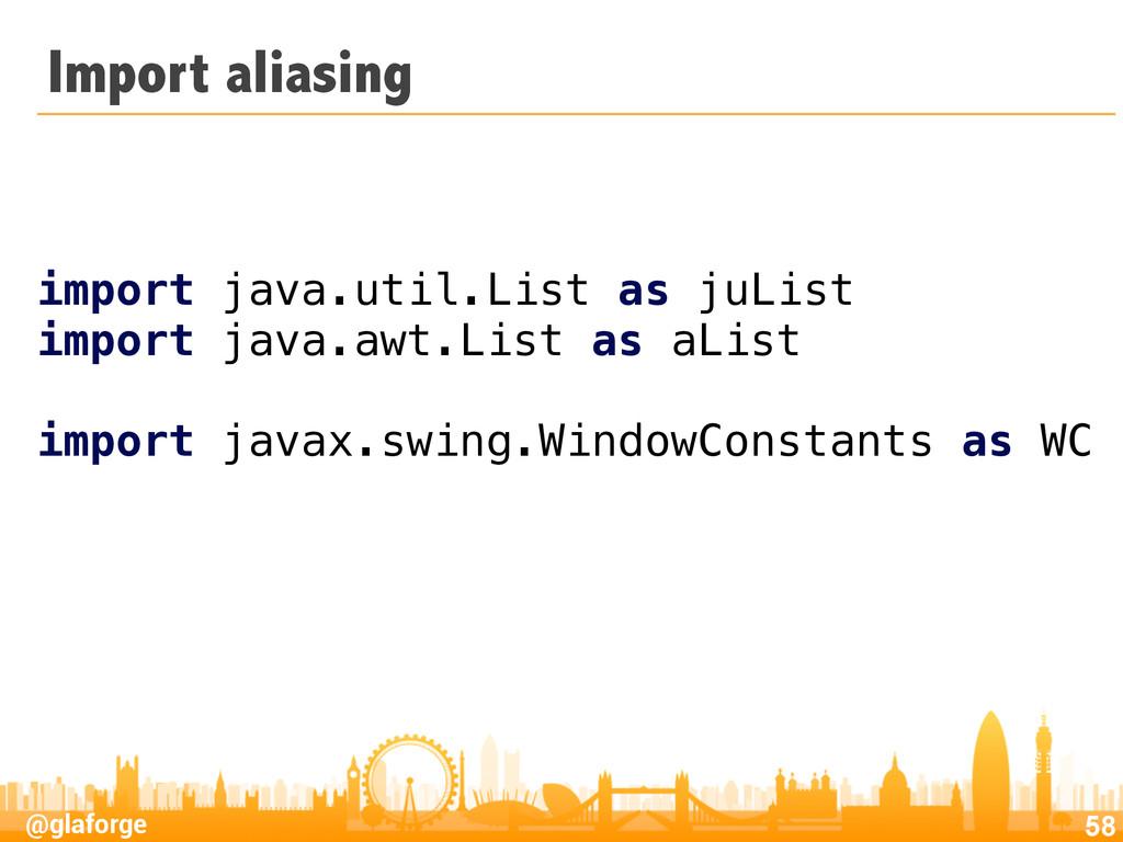 @glaforge Import aliasing 58 import java.util.L...