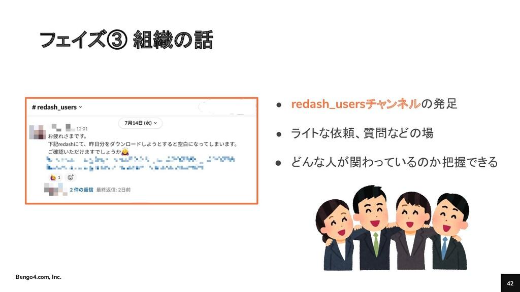 Bengo4.com, Inc. フェイズ③ 組織の話 42 ● redash_usersチャ...