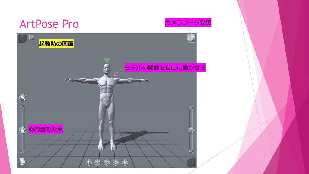 ArtPose Pro 起動時の画面 モデルの関節を自由に動かせる 筋肉量を変更 カメラワーク...