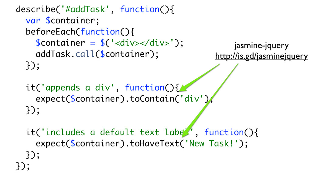describe('#addTask', function(){ var $container...