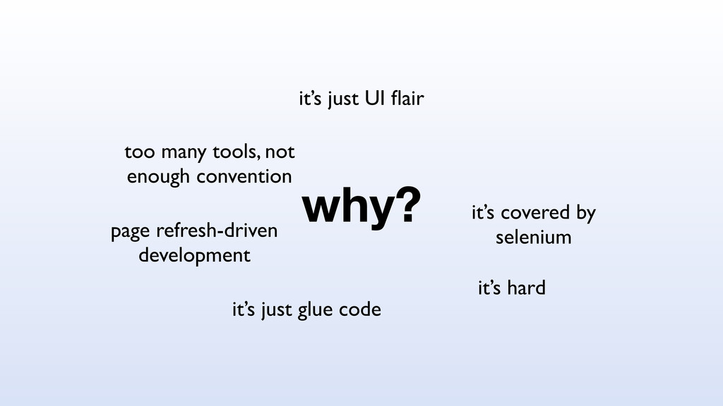 why? it's hard it's just glue code it's covered...