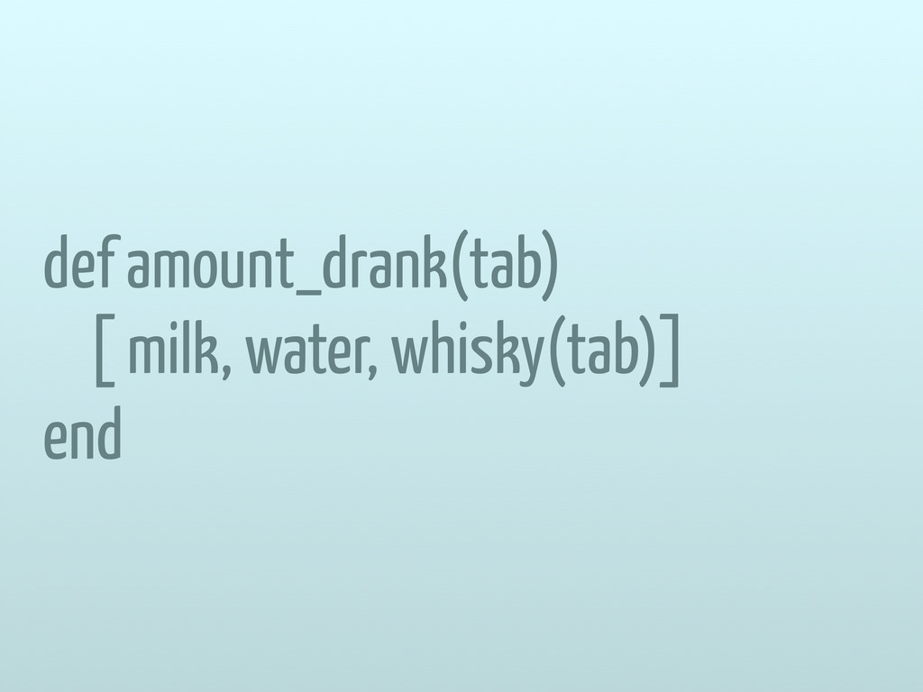 def amount_drank(tab) [ milk, water, whisky(tab...