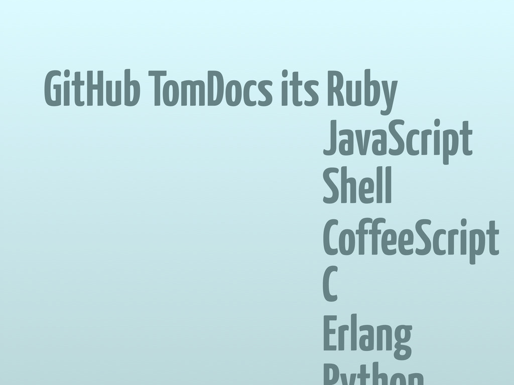 GitHub TomDocs its Ruby JavaScript Shell Coffee...