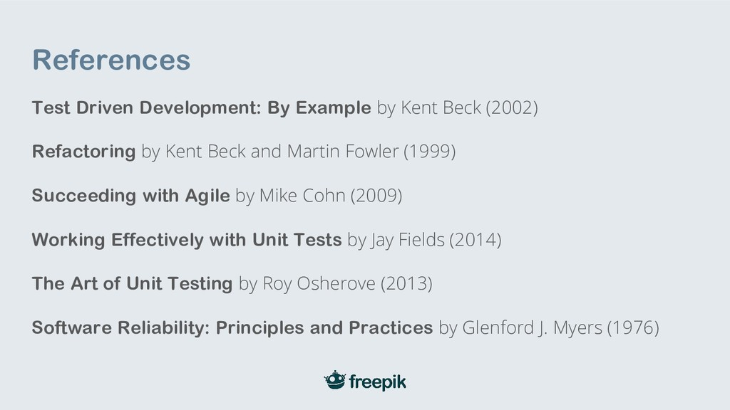 References Test Driven Development: By Example ...