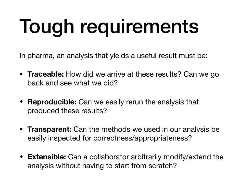 Tough requirements In pharma, an analysis that ...