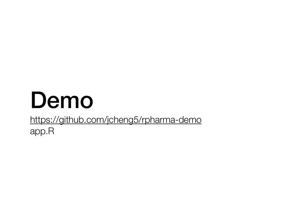 Demo https://github.com/jcheng5/rpharma-demo ap...