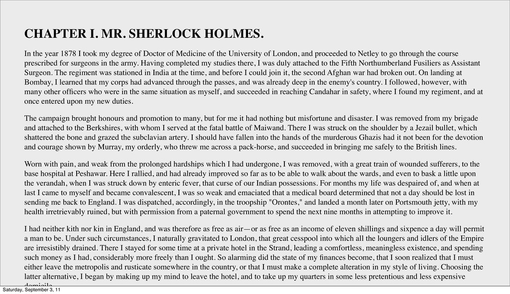 CHAPTER I. MR. SHERLOCK HOLMES. In the year 187...