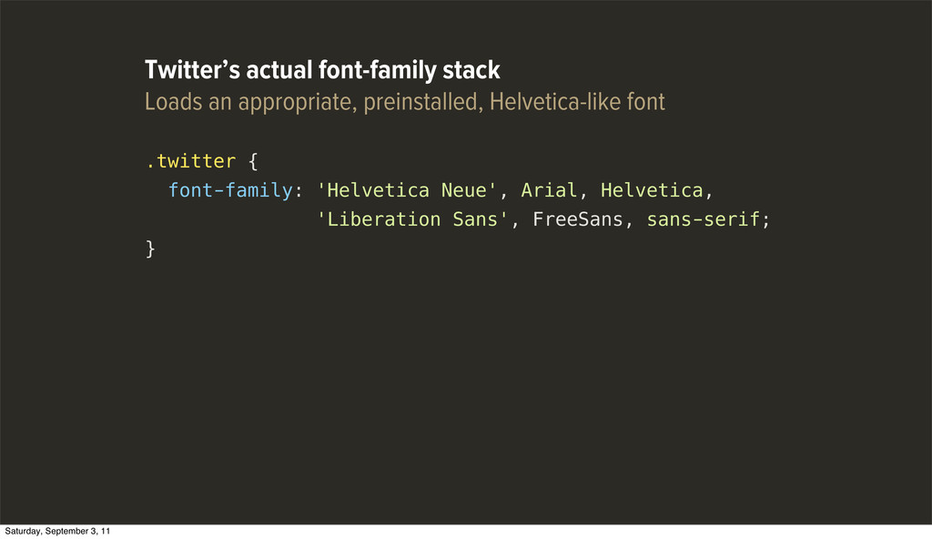 .twitter { font-family: 'Helvetica Neue', Arial...
