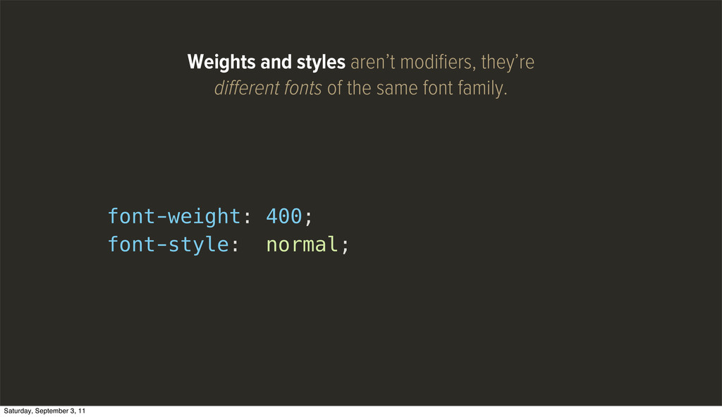 font-weight: 400; font-style: normal; Weights a...