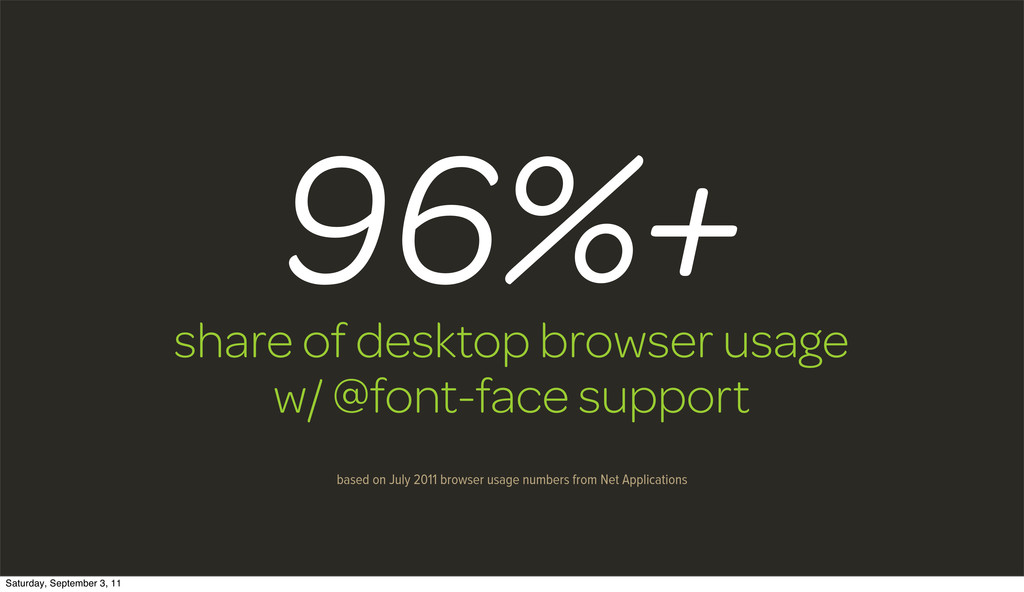 share of desktop browser usage w/ @font-face su...