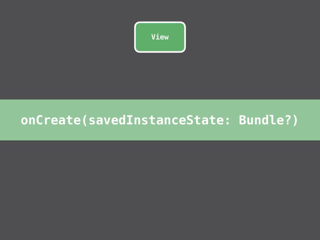 onCreate(savedInstanceState: Bundle?) View