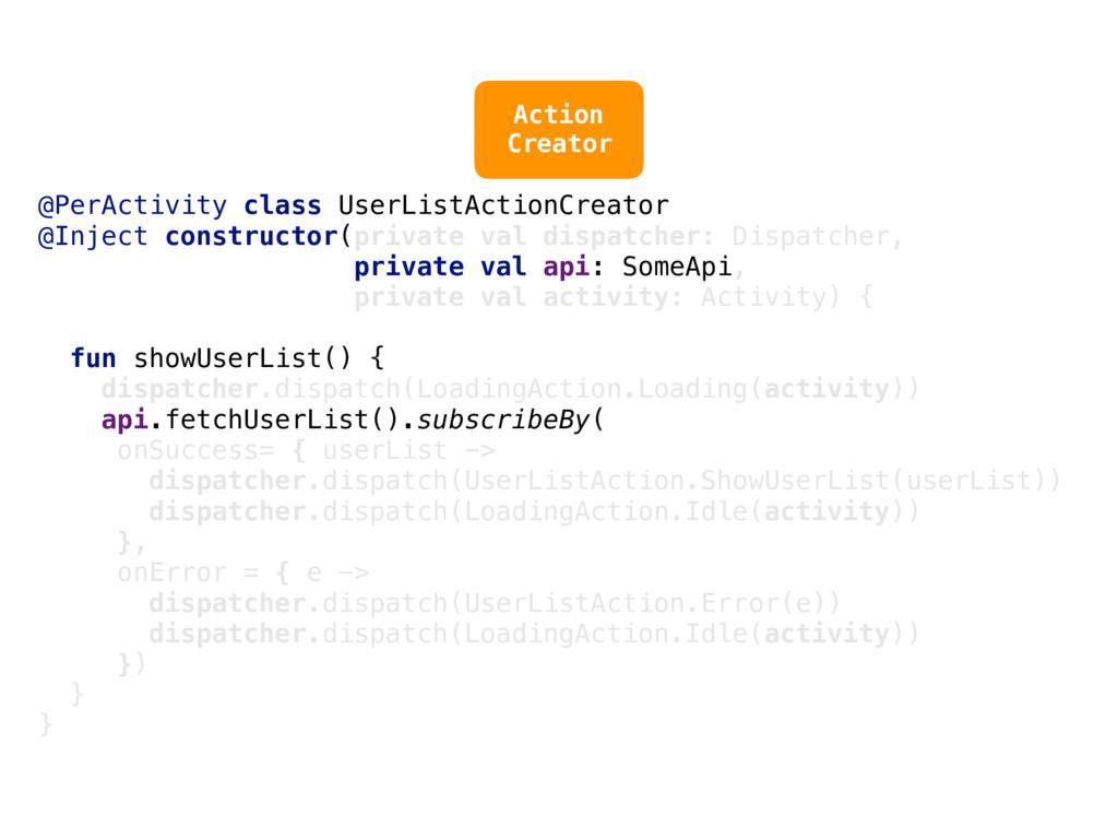 @PerActivity class UserListActionCreator @Injec...
