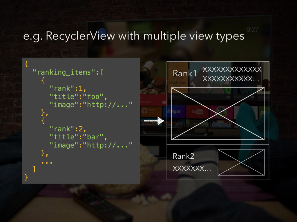 "e.g. RecyclerView with multiple view types { ""r..."