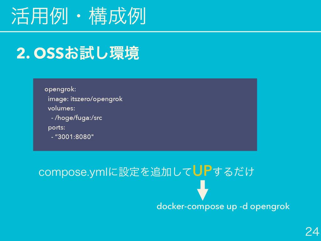 ׆༻ྫɾߏྫ  2. OSS͓ࢼ͠ڥ docker-compose up -d ope...