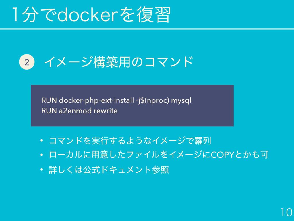 ͰEPDLFSΛ෮श  Πϝʔδߏங༻ͷίϚϯυ RUN docker-php-ext...