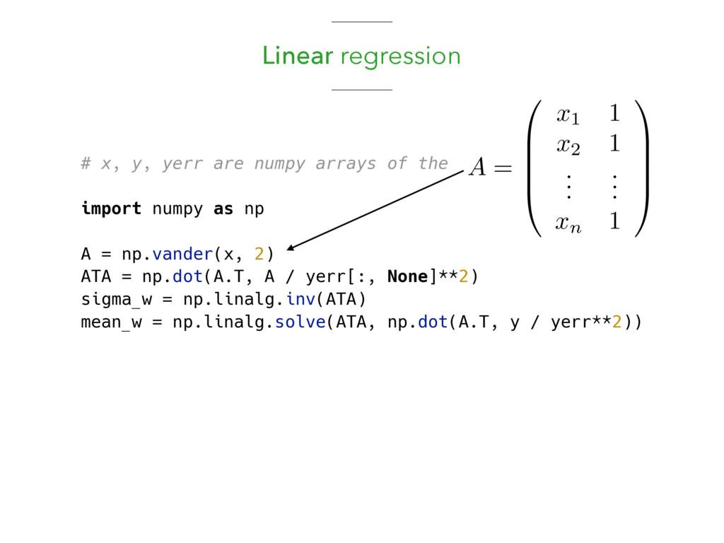 Linear regression # x, y, yerr are numpy arrays...