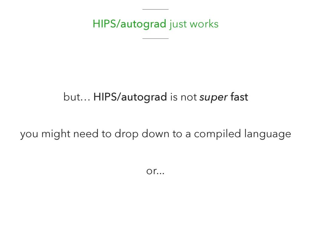HIPS/autograd just works but… HIPS/autograd is ...