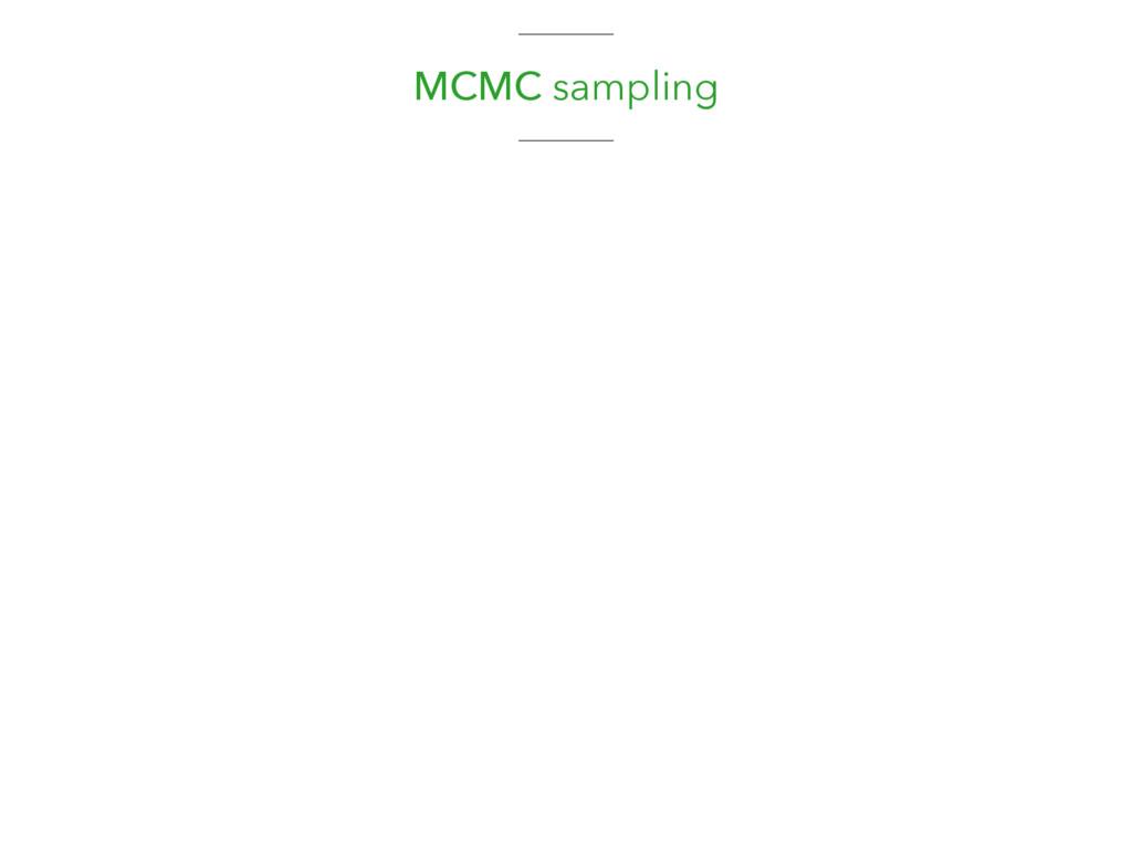 MCMC sampling