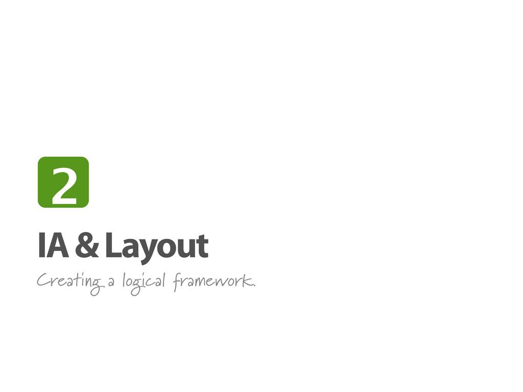 IA & Layout Creating a logical framework. 2