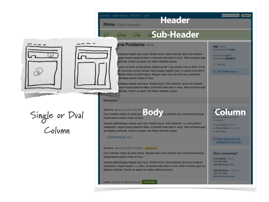 Header Body Column Sub-Header Single or Dual Co...