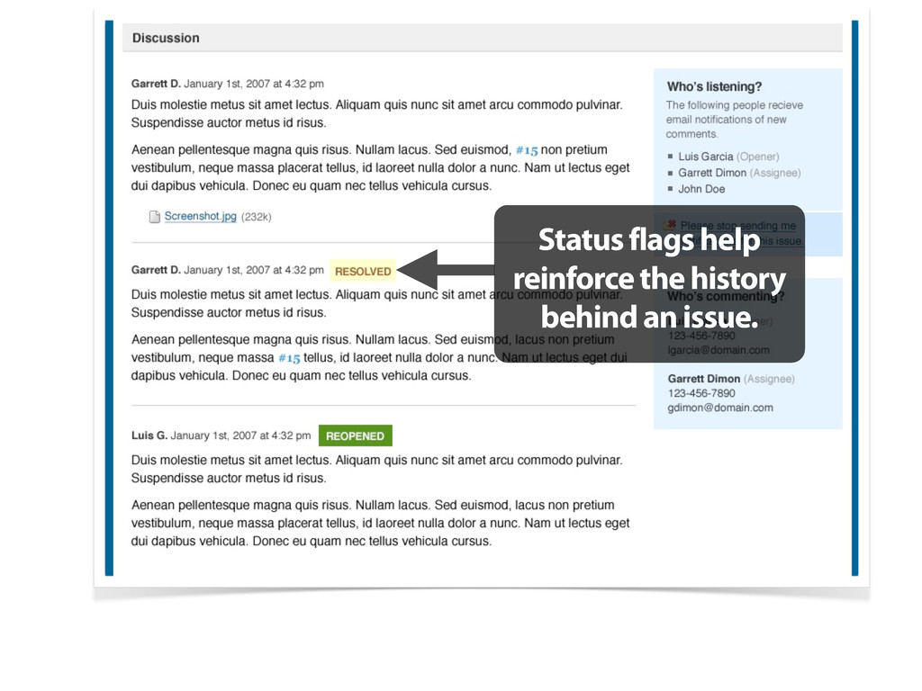 Status flags help reinforce the history behind ...