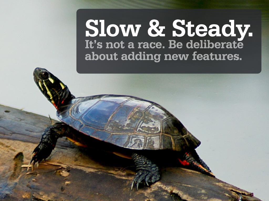 Slow & Steady. It's not a race. Be deliberate a...