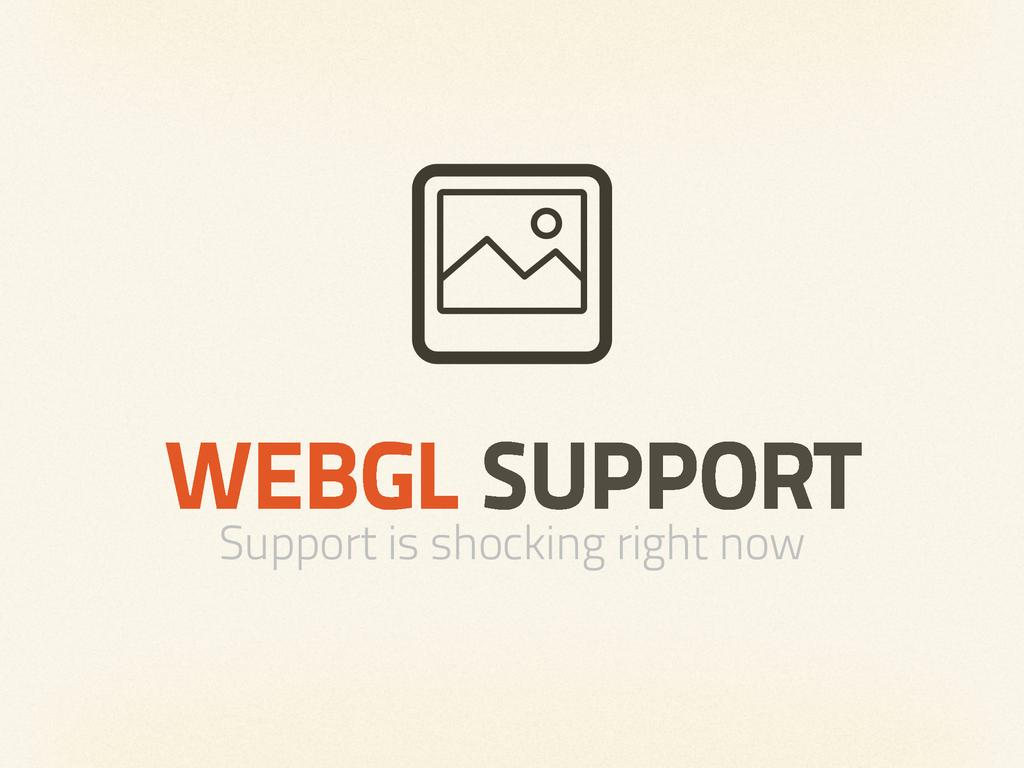 WEBGL SUPPORT Support is shocking right now