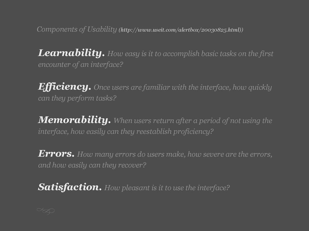 Components of Usability (http://www.useit.com/a...