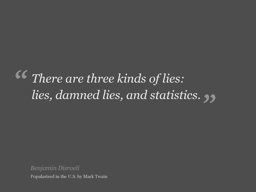 Benjamin Disraeli There are three kinds of lies...