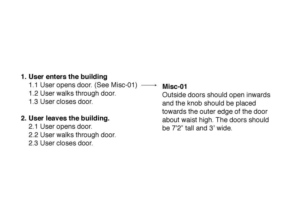 1. User enters the building 1.1 User opens door...