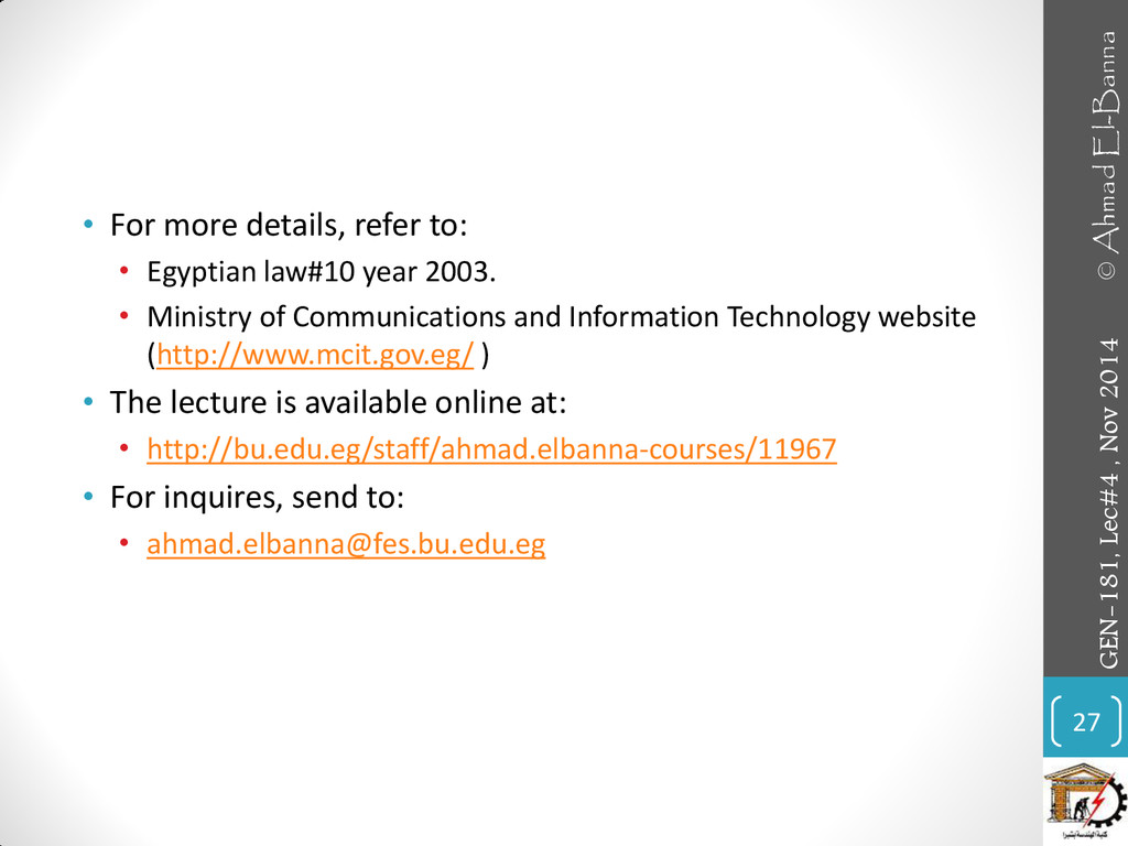 • For more details, refer to: • Egyptian law#10...