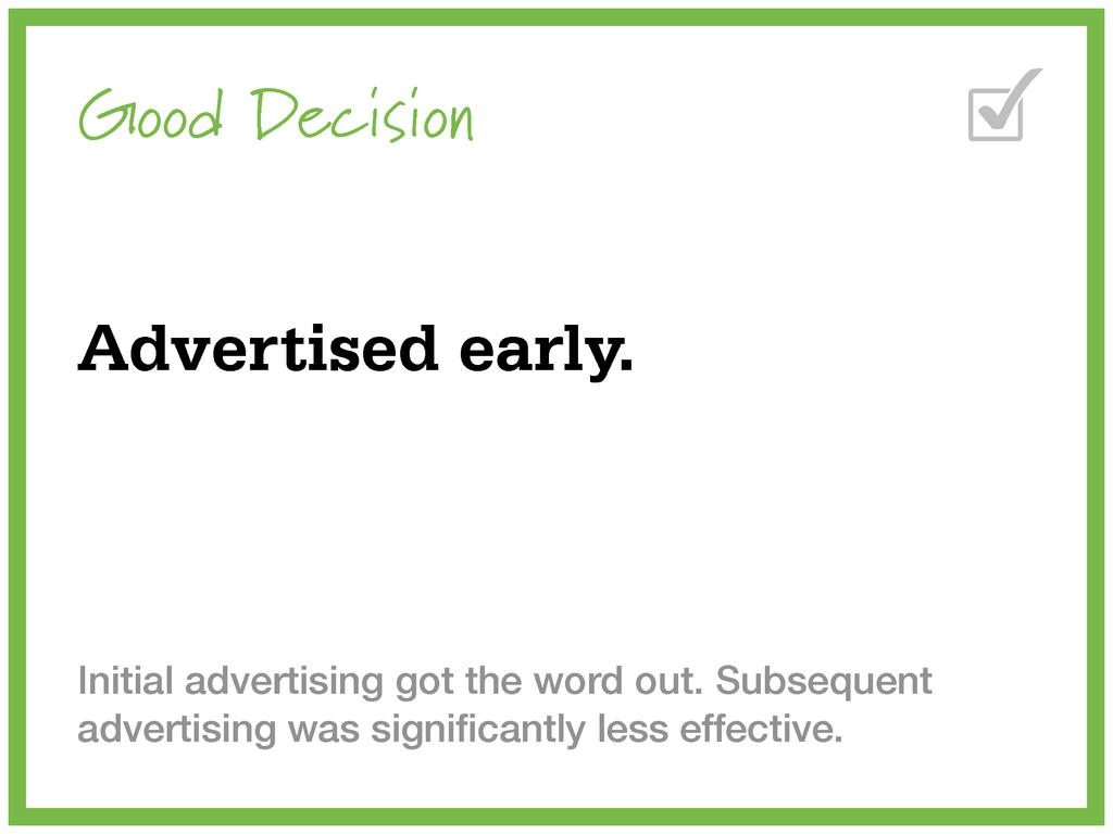 Good Decision Advertised early. Initial adverti...