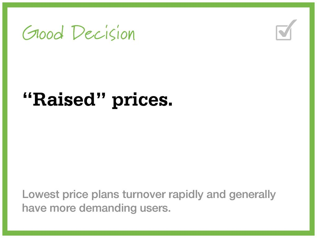 "Good Decision ""Raised"" prices. Lowest price pla..."