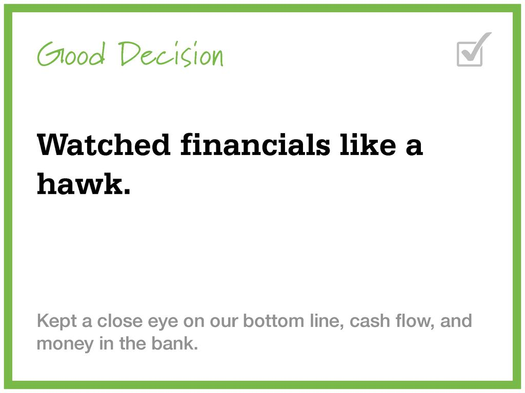 Good Decision Watched financials like a hawk. K...