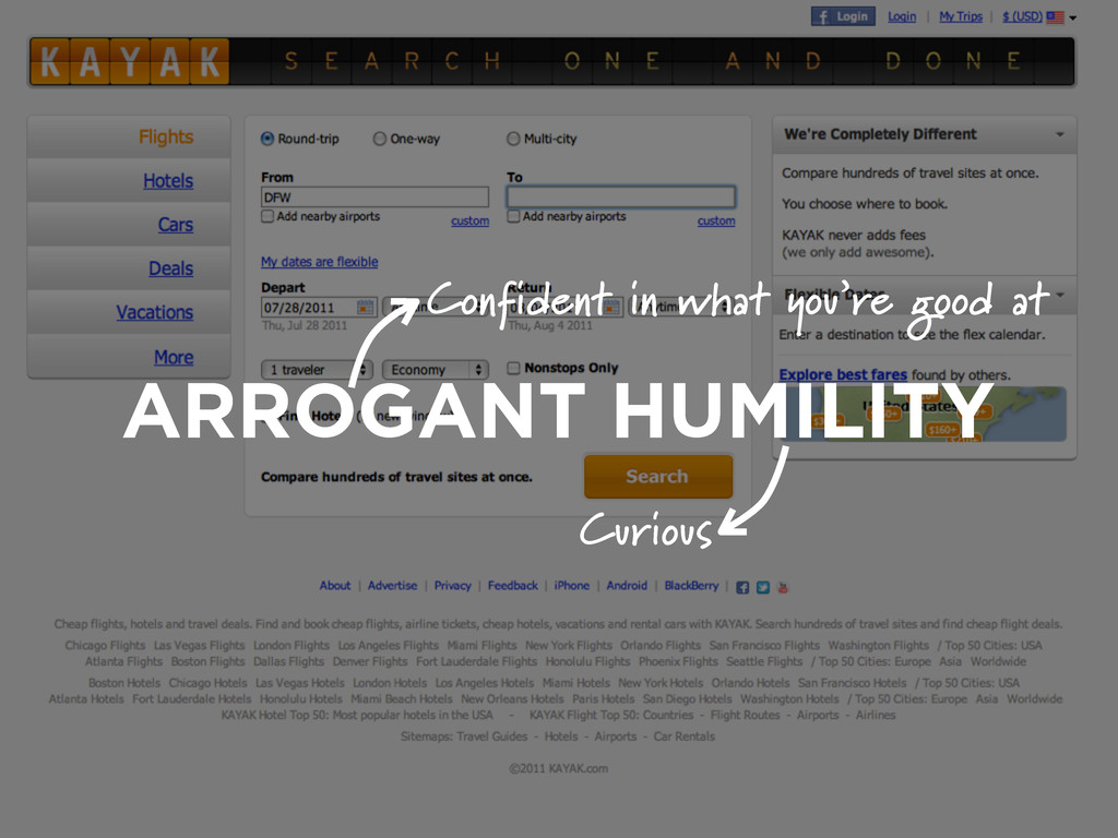 ARROGANT HUMILITY Confident in what you're good...