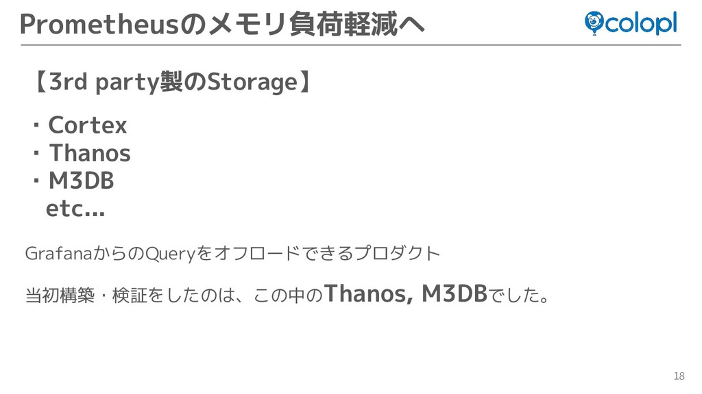 18 Prometheusのメモリ負荷軽減へ 【3rd party製のStorage】 ・Co...