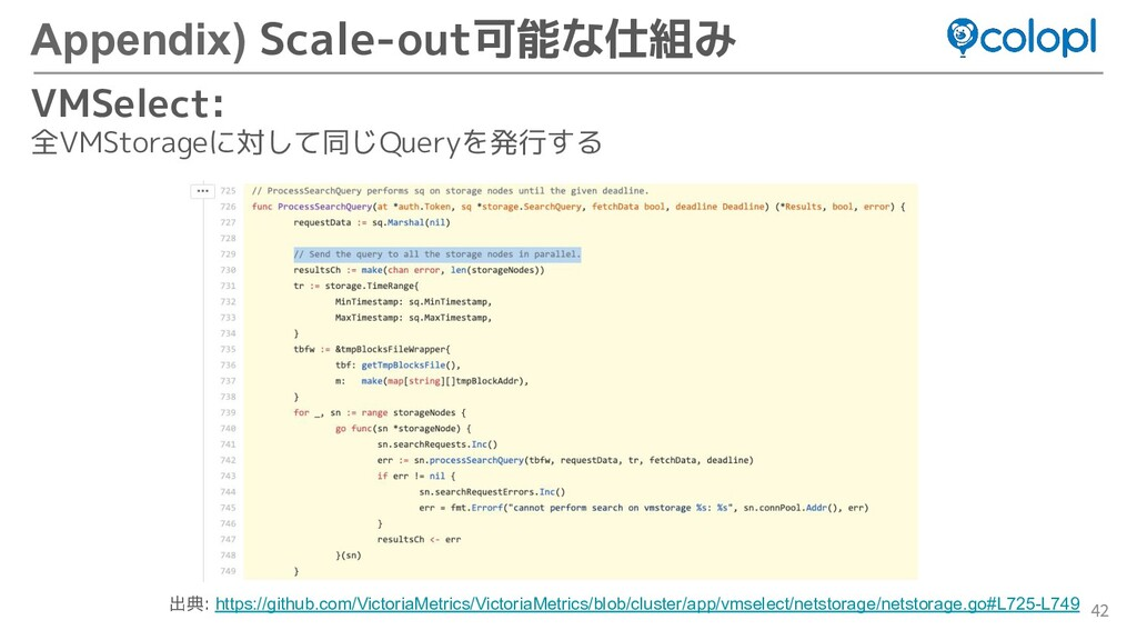 42 Appendix) Scale-out可能な仕組み VMSelect: 全VMStora...