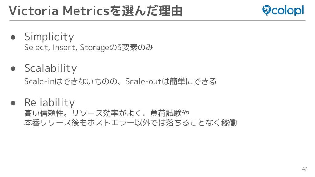 47 Victoria Metricsを選んだ理由 ● Simplicity Select, ...