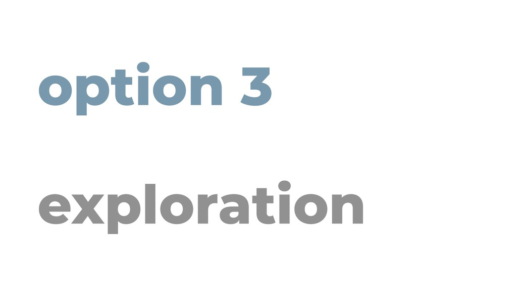 option 3 exploration