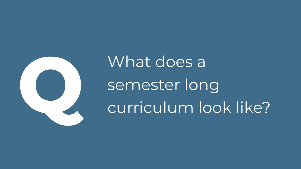 What does a semester long curriculum look like?...