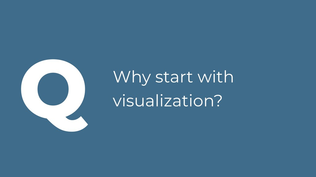 Why start with visualization? Q