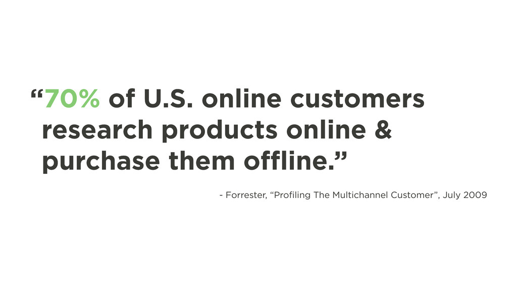 """""""70% of U.S. online customers research products..."""