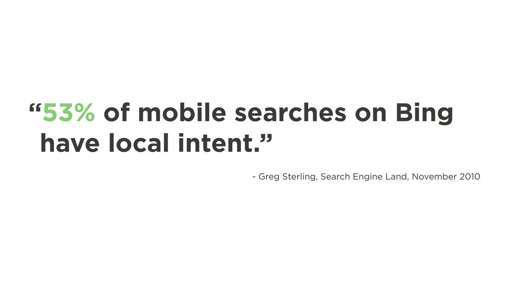"""""""53% of mobile searches on Bing have local inte..."""