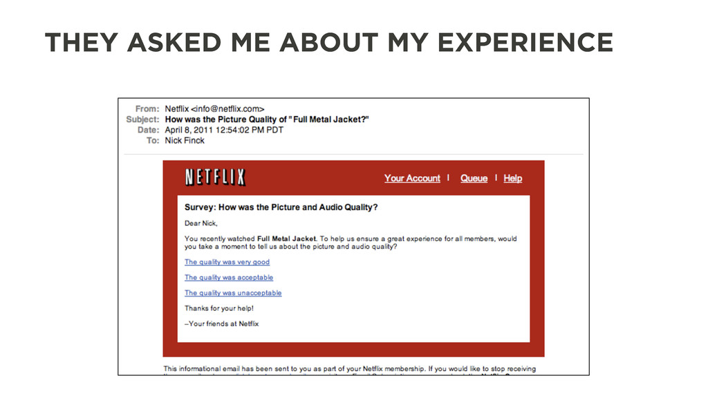THEY ASKED ME ABOUT MY EXPERIENCE