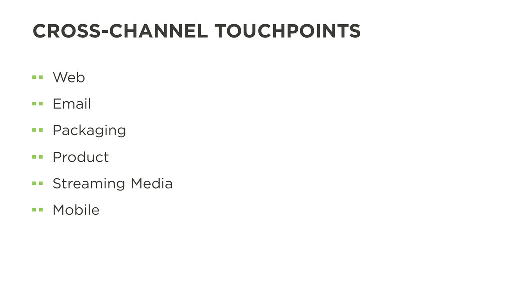 CROSS-CHANNEL TOUCHPOINTS Web Email Packaging P...
